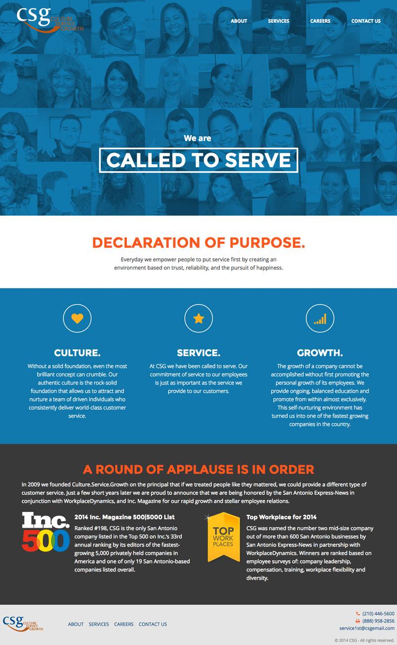 Culture.Service.Growth. website desktop view