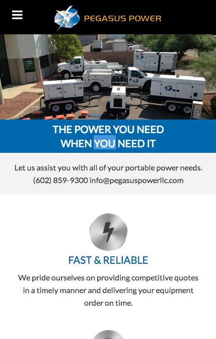 Pegasus Power website mobile view
