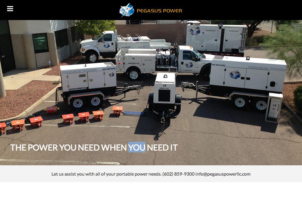 Pegasus Power website tablet view
