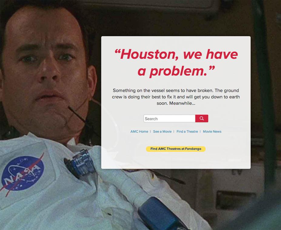 AMC Theaters 404 Error Page